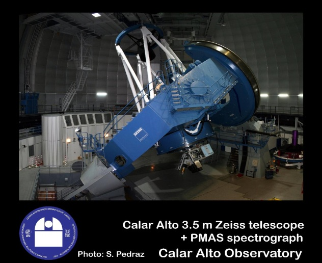 Calar Alto 3.5 meter telescope interior with PMAS spectrograph