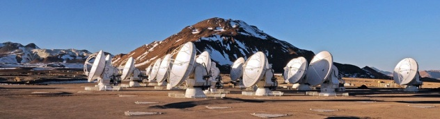 ESO/NRAO/NAOJ ALMA Array in Chile in the Atacama at Chajnantor plateau, at 5,000 metres