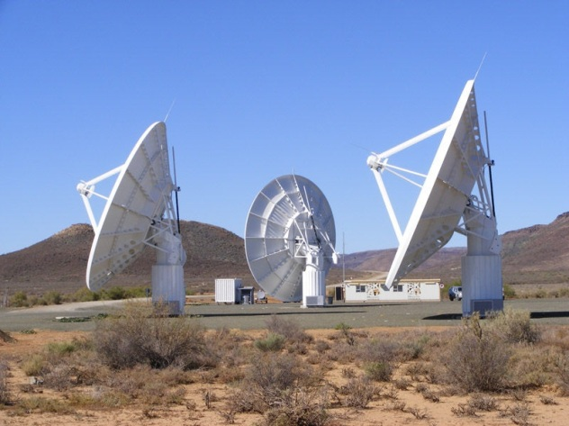 SKA Meerkat telescope, 90 km outside the small Northern Cape town of Carnarvon, SA