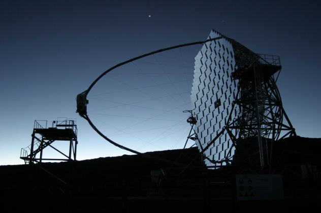 MAGIC Cherenkov gamma ray telescope  on the Canary island of La Palma, Spain
