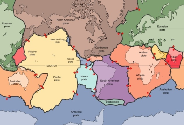 The tectonic plates of the world were mapped in 1996, USGS.