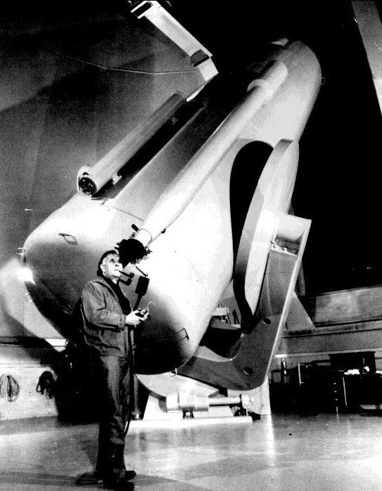 Caltech Palomar  Samuel Oschin 48 inch Telescope Interior with Edwin Hubble
