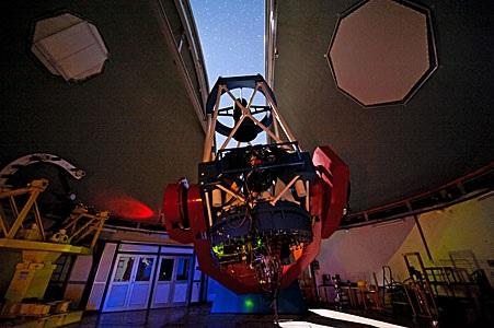 ESO 2.2 meter telescope with dome open