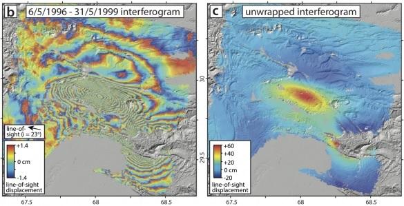 Interferogram of earthquakes