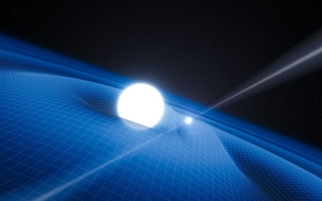 pulsar orbiting a binary companion and the gravitational waves (or ripples) in spacetime that ensue as a resul ESO