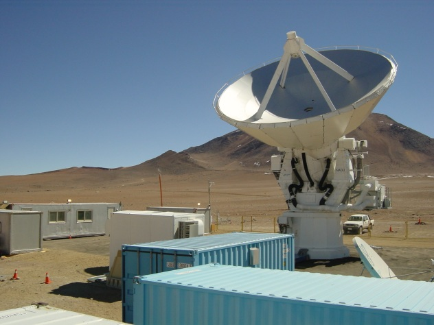 NAOJ Atacama Submillimeter Telescope Experiment (ASTE)  deployed to its site on Pampa La Bola, near Cerro Chajnantor and the Llano de Chajnantor Observatory in northern Chile