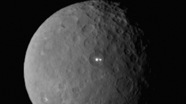 Ceres with bright spot ESO Harps