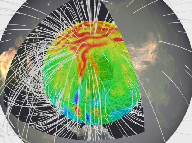 Magnetic field in a geodynamo simulation, created by Hiroaki Matsui using Calypso code