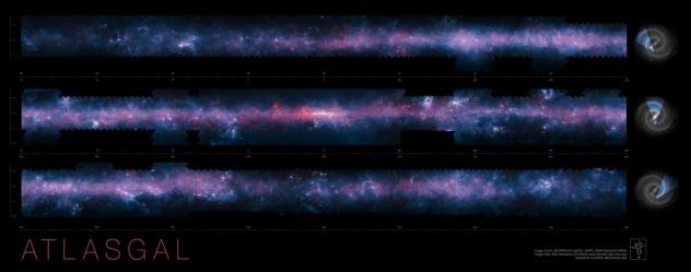 Milky Way map. ATLASGAL .Image credit  ESO APEX ATLASGAL consortiumNASA GLIMPSE consortium ESA Planck