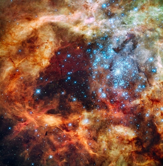 Tarantula Nebula,  Hubble 2009. Credit NASA, ESA, and F. Paresce INAF-IASF, Bologna, Italy, R. O'Connell University of Virginia, Charlottesville, and the Wide Field Camera 3 [WFC3]Science Oversight Committee