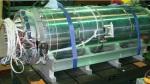 MQXF1 quadrupole 1.5-meter prototype magnet sits at Fermilab beforetesting.