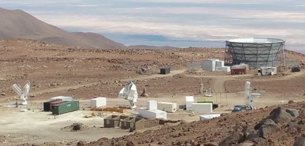 LBL The Simons Array in the Atacama in Chile, with the  Atacama Cosmology Telescope