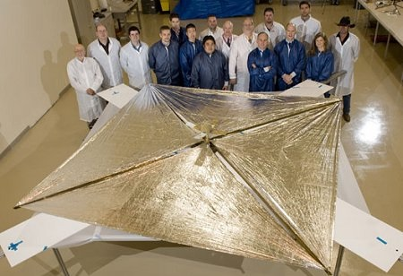 NanoSail-D poses after a successful laboratory deployment test  NASA