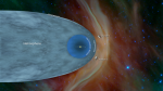 """<a href=""""https://www.nasa.gov/"""">National Aeronautics Space Agency (US)Heliosphere-heliopause showing positions of two Voyager spacecraft. Credit:NASA.</a>"""